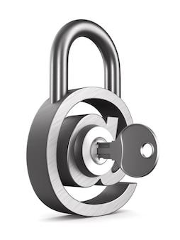 Email de symbole métallique et clé sur blanc.