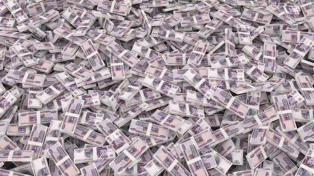 Emballage de billets en coupures de cinq cents roubles pour tout le cadre