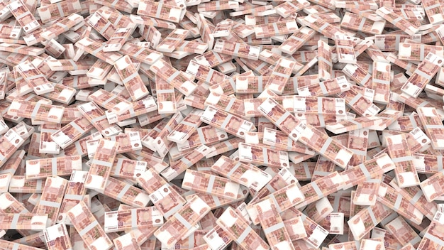 Emballage de billets en coupures de cinq mille roubles pour l'ensemble du cadre