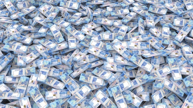 Emballage de billets en coupures de deux mille roubles pour tout le cadre