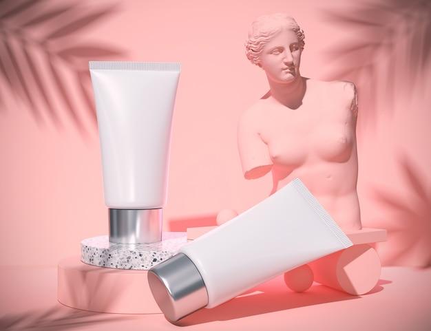 Emballage de bouteille vierge cosmétique naturelle dans le concept abstrait de beauté et spa bleu, rendu 3d.