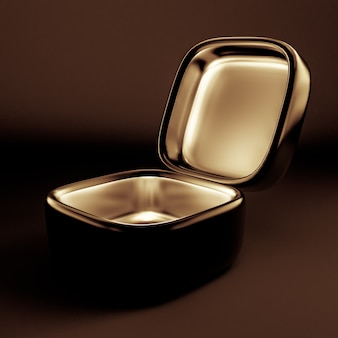 Emballage cadeau de vacances de luxe. la boîte est dorée à l'intérieur et sombre à l'extérieur. illustration 3d, rendu 3d.
