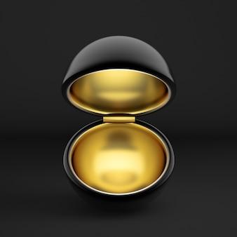 Emballage cadeau de vacances de luxe. la boîte est dorée à l'intérieur et sombre à l'extérieur.