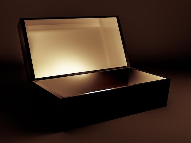Emballage cadeau de vacances de luxe boîte en or 3d illustration
