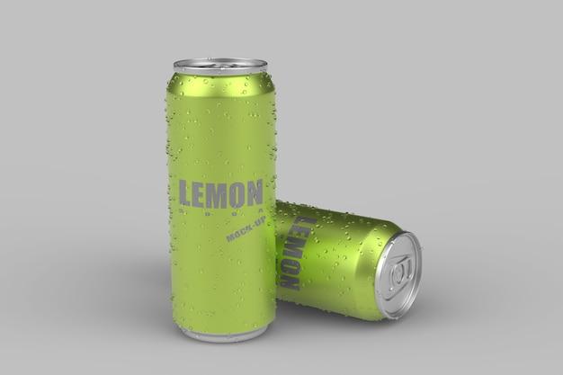 Emballage de canette froide de soda au citron
