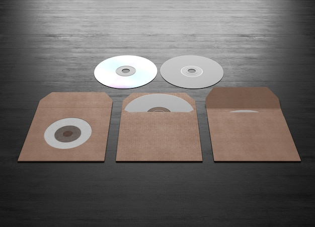 Emballage en carton pour un disque compact sur un bois noir. rendu 3d.