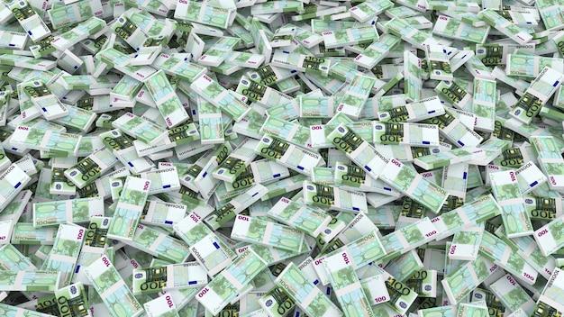 Emballage de cent billets en euros pour le cadre entier