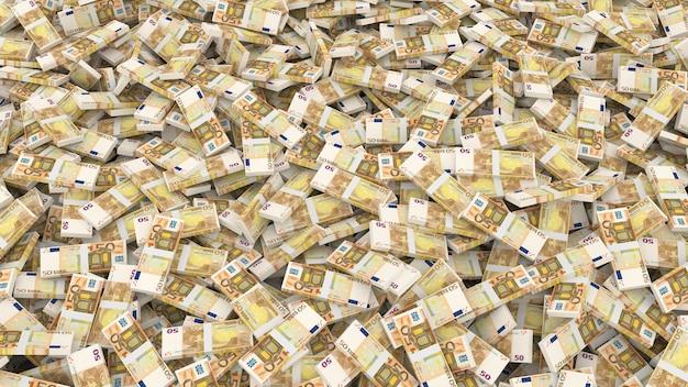 Emballage de cinquante billets en euros pour tout le cadre