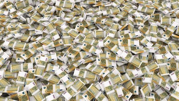 Emballage de deux cents billets en euros pour tout le cadre