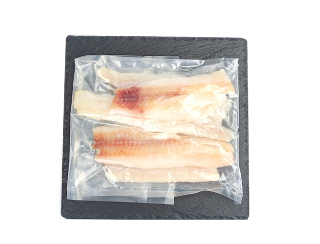 Emballage de filets de goberge de poisson blanc surgelés