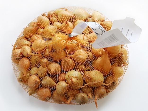 Emballage des graines d'oignon allium cepa dans un emballage quadrillé avec certificat de passeport phytosanitaire
