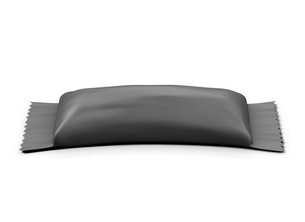 Emballage noir pour biscuit isolé sur blanc. illustration 3d.