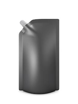 Emballage noir pour ketchup ou mayonnaise isolé sur blanc. illustration 3d