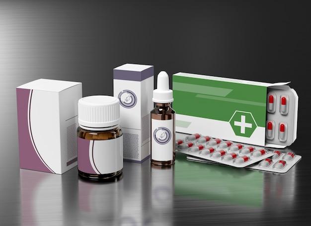 Emballage pharmaceutique - rendu 3d