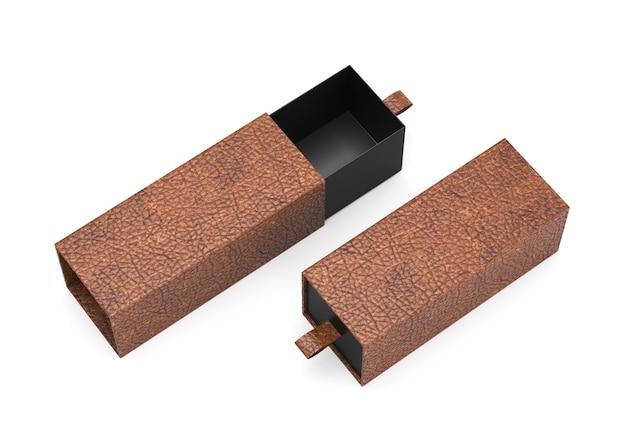 Emballage vide tiroir coulissant en cuir marron noir maquette de boîte en carton pour l'image de marque de l'entreprise. rendu 3d
