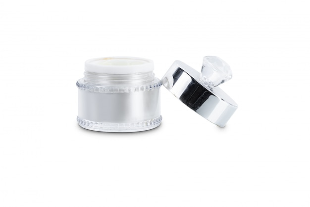 Emballage vierge en verre transparent de crème de beauté avec bouchon
