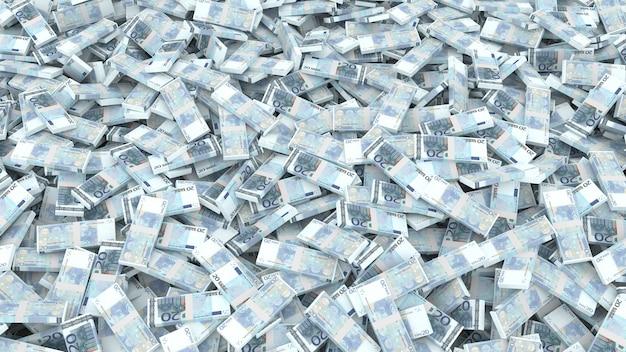Emballage de vingt billets en euros pour tout le cadre