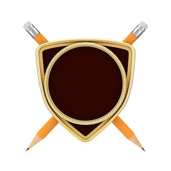 Emblème golden shield arms avec espace libre pour votre conception devant des crayons sur fond blanc. rendu 3d