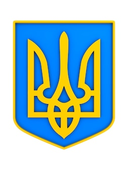 Emblème national de l'ukraine sur l'espace blanc. illustration 3d isolée