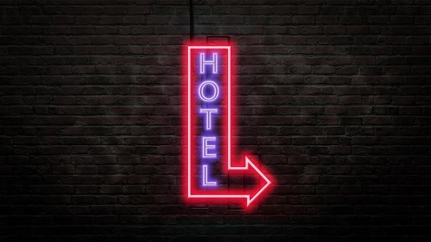 Emblème de signe de l'hôtel dans un style néon sur mur de briques