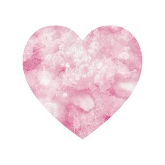 Embrasser le lettrage à la main. fond romantique. modèle de conception de carte de voeux saint valentin. coeur aquarelle isolé sur blanc.