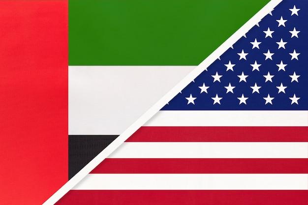 Emirats arabes unis ou eau et états-unis d'amérique ou usa, symbole des drapeaux nationaux.