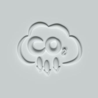 Émissions de dioxyde de carbone co2 illustration 3d