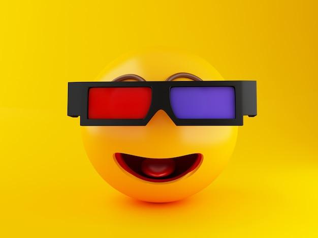 Emoji 3d avec des lunettes 3d. concept de cinéma.