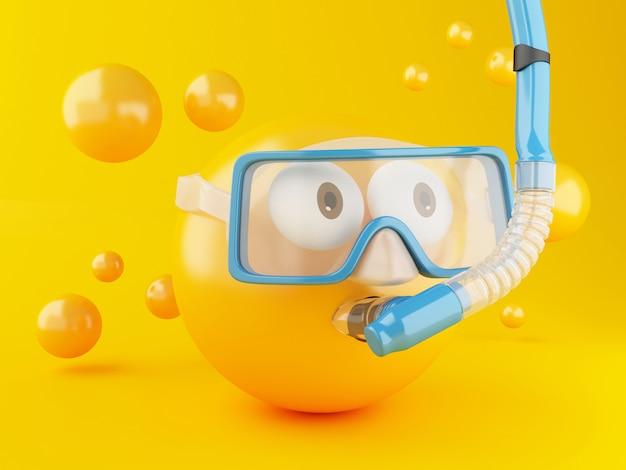 Emoji 3d avec plongée sous-marine.