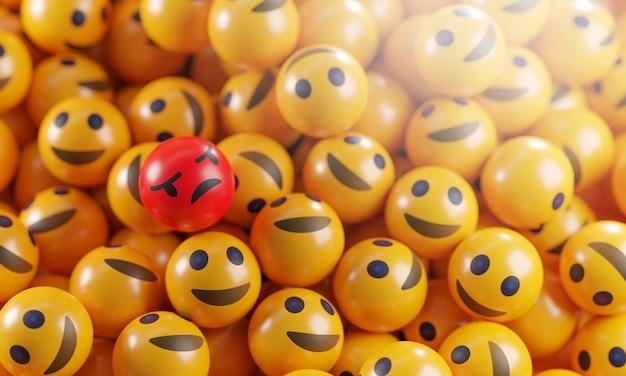 Emoji en colère entre un tas d'émoticônes de sourire