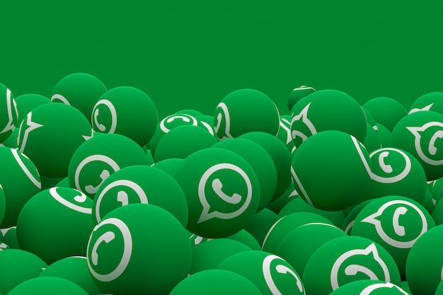 Emoji whatsapp sur fond vert, symbole de ballon de médias sociaux avec motif d'icônes whatsapp