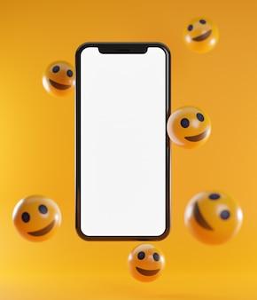 Émoticônes de smartphone et de sourire. fond de concept de médias sociaux rendu 3d