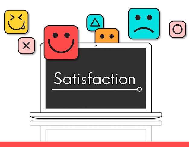 Émoticônes souriantes de commentaires d'évaluation des clients