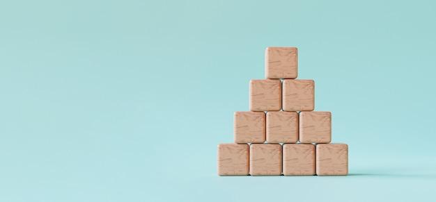 Empiler des cubes en bois vierges sur fond bleu et copier l'espace pour le libellé d'entrée et l'icône infographique par rendu 3d