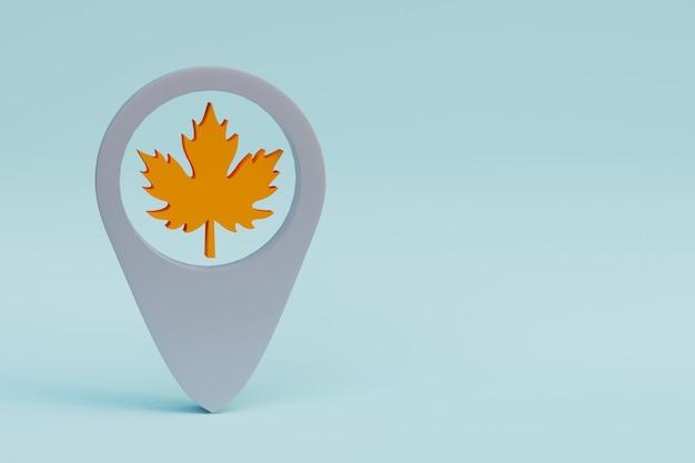 Emplacement de la feuille d'érable ou icône de géolocalisation illustration de rendu 3d