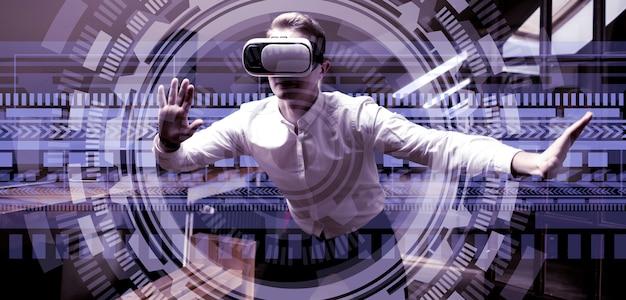 Employé bureau, dans, lunettes, utilisation, 3d, interface