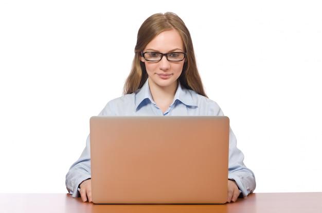 Employé de bureau tenant un ordinateur portable isolé sur blanc