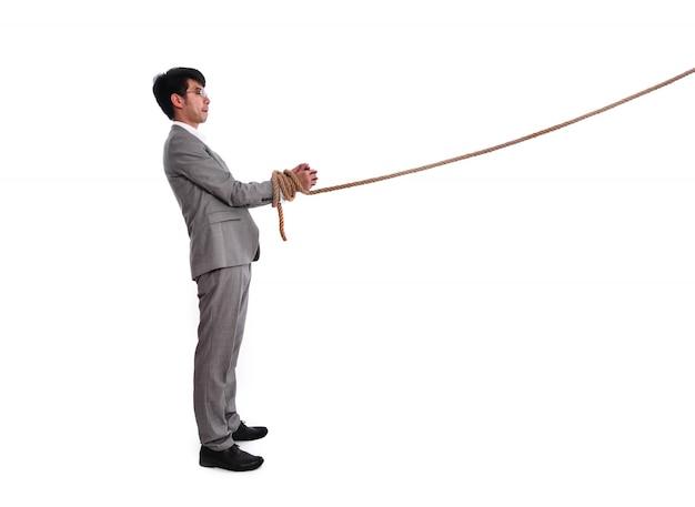 Employé avec une corde