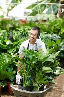 Employé du marché aux fleurs parlant au téléphone