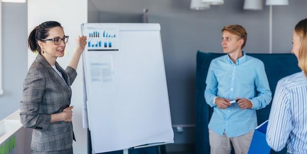Employée de bureau faisant une présentation à ses collègues.