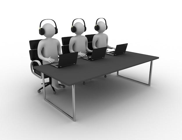 Employés travaillant dans un centre d'appels