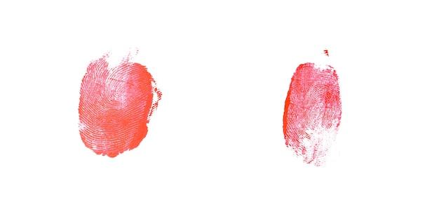 Empreinte digitale sanglante isolé sur fond blanc
