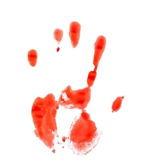Empreinte de main sanglante rouge sur fond blanc