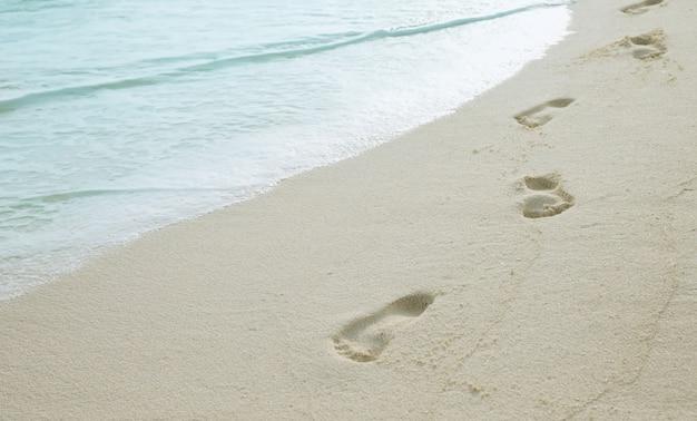 Empreintes humaines sur une plage de sable.