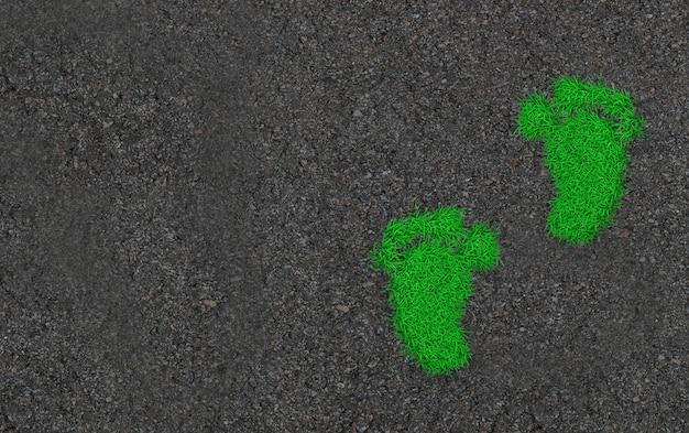 Empreintes de pas dans l'herbe. illustration 3d d'art concept écologique