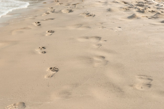 Empreintes de pas dans le sable au coucher du soleil