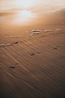 Empreintes de pas dans le sable mouillé