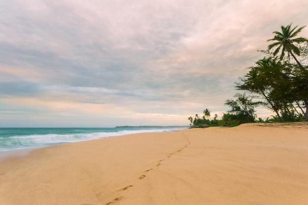 Empreintes de pas sur la plage tropicale déserte