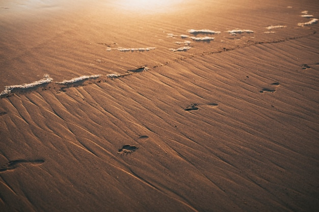 Empreintes de pas sur le rivage