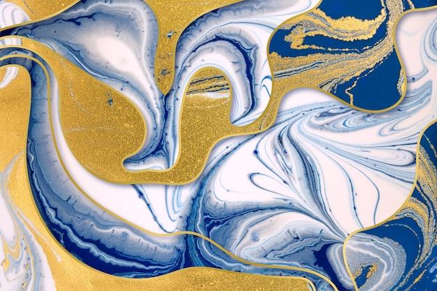 Encre bleue marbrée et fond abstrait de poussière d'or avec bordures en dégradé d'or.